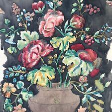 4/5: Mischtechnik Gemälde Blumen Entwurf Stoff/Tapete mgr.cTh ~Cella Thoma ~1900