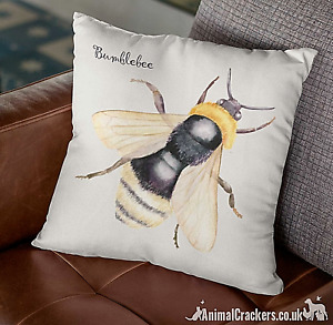Bumble Bee 100% Fairtrade natural cotton 40cm cushion cover ideal Bee lover gift