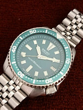 VINTAGE GREEN FACE MODDED SEIKO DIVER 7002-700J AUTOMATIC MEN'S WATCH SN 140162