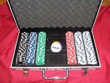 Big Lot of Clay Poker Chips Aluminum Card Carrying Case Set Gambling Playing Box