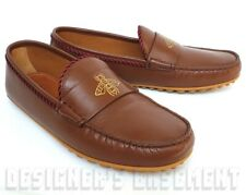 GUCCI men 10G* Brown leather KANYE gold BEE driving Moccasin shoes NIB Auth $620