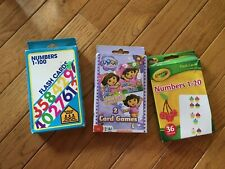 Lot of 3 sets of preschool flashcards, counting, number recognition, Dora games