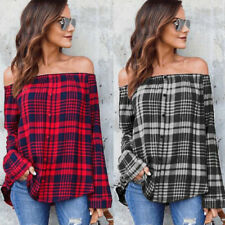 Fashion Boat Neck Plaid Long Sleeve Blouses - Black