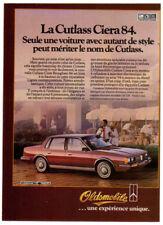 1984 OLDSMOBILE Cutlass Ciera Vintage Original SMALL Print AD Brown photo French