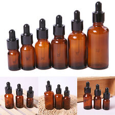 10Pcs 5/10/15/30/50ml Amber Glass Pipette Dropper Bottles Aromatherapy Eye Uxym