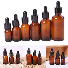 10x 5/10/15/30/50ml Amber Glass Pipette Dropper Bottles Aromatherapy Eye Drops P