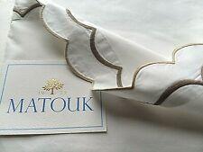 MATOUK ~ INDIA ~ SCALLOP Edge 1) QUEEN FLAT SHEET  COTTON PERCALE ~ DRIFTWOOD...