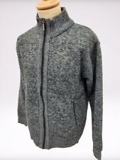 New Men's Medium Zip Up Thermal Insulated Fleece Lined Knitted Cardigan Jumper