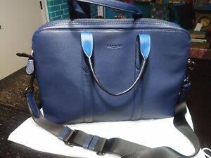 Men's Coach Leather Metropolitan Soft Brief In Colorblock BLUE