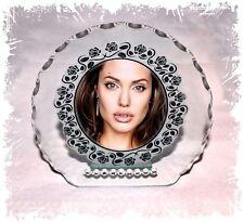 Angelina Jolie,  Cut Glass Diamante Round Plaque gift  | Cellini Plaques #1