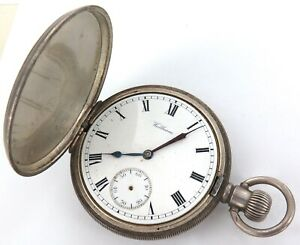 1914 WALTHAM TRAVELER 16S 7J MENS STERLING SILVER POCKET WATCH.