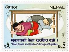 NEPAL 2015 Drop Cover and Hold on during Earthquakes Disaster Protection stamp