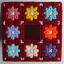 TISSUE BOX COVER HANDMADE RED MULTI-COLOR FLOWER DESIGN