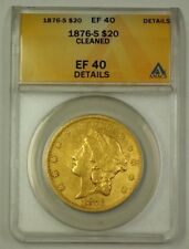 1876-S US Gold Double Eagle $20 Coin ANACS EF-40 Details Cleaned