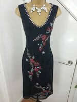 Karen Millen Dress Midi Beaded Embroidery Multi Floral Special Occasion Size 10