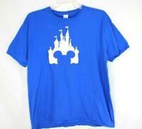 Walt Disney Castle Mickey Ears Icon Disney Parks Blue Tee T-Shirt Mens Size 2X