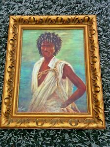 Classical Oleograph Of A Somali Bandit By After Kent Cottrell In Gilded Frame