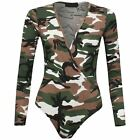 New Womens Long Sleeve Print Wrap Over Bodysuit V Neck Ladies Leotard Plunge Top