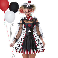 Ladies Twisted Clown Costume Adult Horror Circus Halloween Fancy Dress Womens