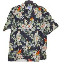 RJC Mens L Black Yellow Tropical Bird Parrots Floral Vintage Hawaiian Shirt EUC