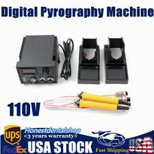 60W Digital Display Pyrography Gourd Wood Machine Crafts Tool Kit Tips110V Us