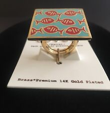 Covet New Ring  14K Gold Plated Red Fishes Large Square Ring,One Size