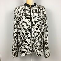 Chico's Size 3 XL Black & White Textured Jacket Full Zip Faux Leather Collar