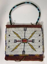 1890s NATIVE AMERICAN SIOUX INDIAN BEAD DECORATED HIDE BAG / BEADED HIDE POUCH