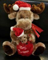 "Christmas Holiday Reindeer Stuffed Plush & Baby Scarf Santa Hat Scarf Decor 17"""