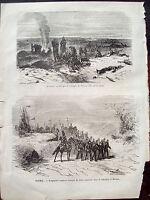 1866 VEDUTE INCISE DELLA BATTAGLIA DI TURNAU E BATTAGLIA DI NACHOD IN BOEMIA
