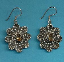 hand built Nepalese Tibetan earring Beautiful Sterling Silver Citrine Intricate