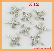 12 BRELOQUES LIBELLULE EN MÉTAL ARGENTÉ  perles,fimo,bijoux neuf-bc081
