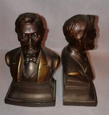 Vintage Lincoln Bookends Brass Metal PMC 5.5""