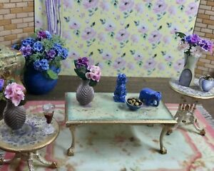 1:12 Dollhouse miniature classic side table pair and coffee table set