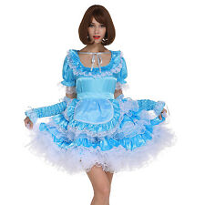 Sissy Girl Maid Pale Bule Lockable Dress Puffy Crossdress For Transgender