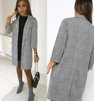 New Ladies Womens Check Hounds Tooth Tartan 3/4 Sleeve Duster Coat Jacket Blazer