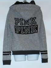 Victoria's Secret Pink Varsity Bling Sequin Faux Fur Lined Marl Hoodie Gray S