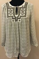 Lucky Brand Womens Peasant Blouse Top Small Ivory Black Floral Embroidered Yoke