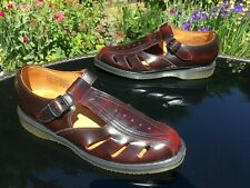 Dr. Martens Deirdre burgundy t-bar buckle flat leather sandals UK 6 EU 39 US 7