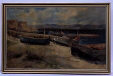 ANTIQUE 1900s EUROPEAN MASTERS SIGNED OIL ON CANVAS COASTAL PAINTING WITH BOATS