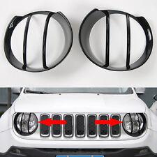 2pcs Front Head Light Lamp Frame Cover Trim-Black Jeep Renegade 2015 2016 2017