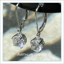 Earring 4Ct Round cut Diamond Solitaire Gemstone Drop Dangler White Gold Jewel