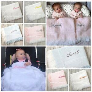 ⭐ Personalised Baby Shawl Blanket - Diamond Design - Christening Shawl ⭐
