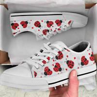 Cartoon Ladybug Ladybird Lover Women's Low Top Shoes - Custom Canvas Shoes