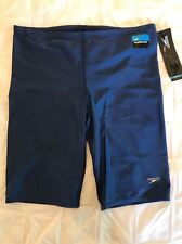 New Speedo Men's PowerFLEX Eco Solid Jammer Swimsuit 36 Navy $44