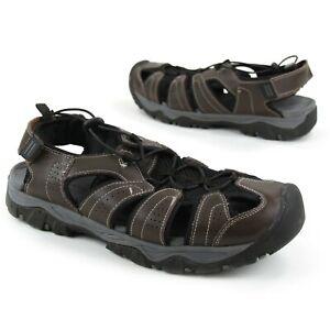 Eddie Bauer Mens Sz 12M Stewart Brown Leather Outdoor Fisherman Hiking Sandals