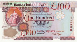 Two Bank of Ireland £100 Note GBP Pound Sterling - Can be used anywhere in UK!