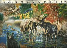 Quilting Treasures ~ Nature Moose Deer Bear Wolf ~ 100% Cotton Quilt Fabric BTY