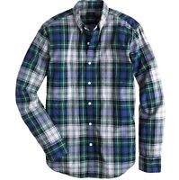 J CREW Shirt Men's Size L Large Button Down Plaid Secret Wash Green Tartan Check
