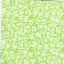 4 Single paper decoupage napkins. Background, green, lace, indigo  design - 422